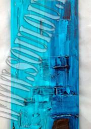 *Blue Stone*  Größe 20 x 50 cm Leinwand gespachtelt + Stein hellblau blau gefertigt von Marion Heine Soulous Art