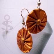 15 Ohrhänger Rosette orange Nespresso Linizio Lungo upcycling Alu Kapsel leer Aluminium Schmuck gefertigt von Marion Heine Soulous Art