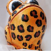 *Cheetah* Relief-Keramik-Guss-Frosch handbemalt Unikat gold braun schwarz weiß Gebhard gefertigt von Marion Heine Soulous Art