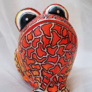Red Poison* Relief-Keramik-Guss-Frosch handbemalt Unikat rot orange silber schwarz weiß rotes Gift gefertigt von Marion Heine Soulous Art
