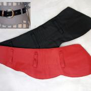 Ledergürtel in rot + schwarz breiter Taillen-Wendegürtel ohne Schnalle echt Leder Mittelalter Larp Fantasy Rollenspiel Gothic Steampunk gefertigt von Marion Heine Soulous Art