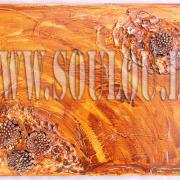 *Pinecone* Größe 40 x 50 cm Leinwand gespachtelt + Tannenzapfen gelb orange hellbraun braun Tannenzapfen gefertigt von Marion Heine Soulous Art