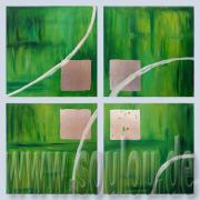*Green Silver* Größe 30 x 30 cm – 4 Bilder als Set Leinwand + echtes Blattsilber hellgrün grün tannengrün gelb silber gefertigt von Marion Heine Soulous Art