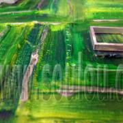 *Green Metal*  Größe 30 x 30 cm – 3 Bilder als Set Leinwand gespachtelt + Aluprofil grün gefertigt von Marion Heine Soulous Art