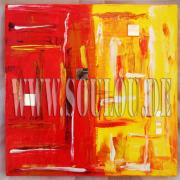 *Sunset Mirror* 1  Größe 30 x 30 cm – 2 Bilder als Set Leinwand gespachtelt + Spiegel rot gelb gefertigt von Marion Heine Soulous Art