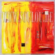 *Sunset Mirror* 2  Größe 30 x 30 cm – 2 Bilder als Set Leinwand gespachtelt + Spiegel gelb rot gefertigt von Marion Heine Soulous Art