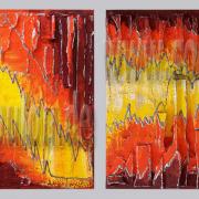 *Red Stone I+II*  Größe 40 x 40 cm Leinwand gespachtelt modelliert gelb orange rot gefertigt von Marion Heine Soulous Art