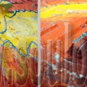*Red Stone*  Größe 40 x 40 cm Leinwand gespachtelt modelliert gelb orange rot Detail gefertigt von Marion Heine Soulous Art