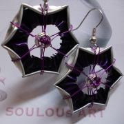 Ohrhänger Stern violett Nespresso Arpeggio upcycling Alu Kapsel leer Aluminium Schmuck gefertigt von Marion Heine Soulous Art