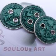 02 3 x Knöpfe Öse Nespresso Fortissio Lungo upcycling Alu Kapsel leer Aluminium Schmuck gefertigt von Marion Heine Soulous Art