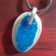 04 Besteck Schmuck Anhänger Achat blau Gabel Löffel silber Art Deko WMF BSF OKA Wilkens R&B Wellner gefertigt von Marion Heine Soulous Art