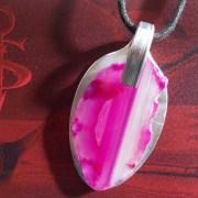 07 Besteck Schmuck Anhänger Achat pink Gabel Löffel silber Art Deko WMF BSF OKA Wilkens R&B Wellner gefertigt von Marion Heine Soulous Art