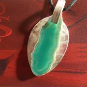10 Besteck Schmuck Anhänger Achat grün Gabel Löffel silber Art Deko WMF BSF OKA Wilkens R&B Wellner gefertigt von Marion Heine Soulous Art