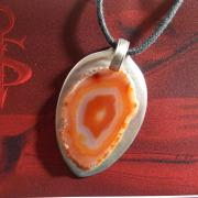 13 Besteck Schmuck Anhänger Achat orange Bernstein Gabel Löffel silber Art Deko WMF BSF OKA Wilkens R&B Wellner gefertigt von Marion Heine Soulous Art