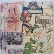 Untersetzer Modell Champagne 2 von 2-er Set Natursteinfliesen Fliese Fliesenspiegel Servietten-Technik Wunschmotiv gefertigt von Marion Heine Soulous Art