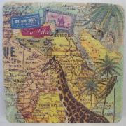 Untersetzer Modell Africa 2 von 2-er Set Natursteinfliesen Fliese Fliesenspiegel Servietten-Technik Wunschmotiv gefertigt von Marion Heine Soulous Art