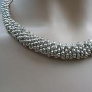Perlen - Kette Schmuck Rocailles silber gehäkelt von Marion Heine Soulous Art