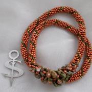 Perlen - Kette Schmuck Rocailles rost Halbedelsteinen Unakite gehäkelt von Marion Heine Soulous Art