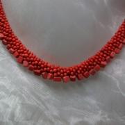 Perlen - Kette Schmuck Rocailles rot Halbedelsteine von Marion Heine Soulous Art