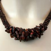 Perlen - Kette Schmuck Rocailles braun Halbedelsteine gehäkelt von Marion Heine Soulous Art