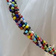 Perlen - Kette Schmuck Rocailles bunt gehäkelt von Marion Heine Soulous Art