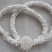 Perlen - Kette Schmuck Rocailles weiss Silberfolienglasperlen gehäkelt von Marion Heine Soulous Art