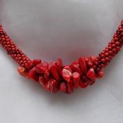 Perlen - Kette Schmuck Rocailles rot Halbedelsteinen Koralle gehäkelt von Marion Heine Soulous Art