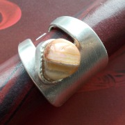 28 Besteck Schmuck Ring Kuchengabel Halbedelstein Art Deko WMF BSF OKA Wilkens R&B Wellner gefertigt von Marion Heine Soulous Art