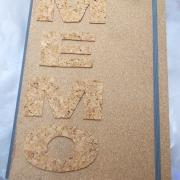 12 Memo Notizbuch Tagebuch Kladde Kork grau Leinenkladde A4, 80 Blatt blanko weiß Gummi Kork Naturprodukt gefertigt von Marion Heine Soulous Art