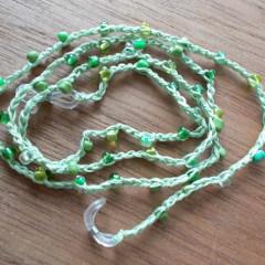 Brillenband Brillenkette Perlenbrillenband gehäkelt Baumwolle Rocailles grün gefertigt von Marion Heine Soulous Art