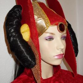 Königin Padmé Amidala  Kostüm Haube rechts - Karneval Fasching Helau Star Wars Red Invasion Sience Fiction gefertigt von Marion Heine Soulous Art