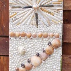 Betonpfeiler Zaunverbindung Sichtschutz Mosaik Garten Muscheln gefertigt von Marion Heine Soulous Art