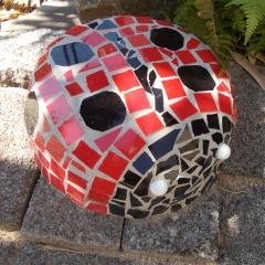 Marienkäfer Dekoobjekt Steingarten Mosaik Garten Fliesen gefertigt von Marion Heine Soulous Art