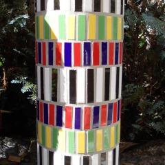 Blumensäule Beton massiv Säule groß Mosaik Garten Fliesen Kacheln gefertigt von Marion Heine Soulous Art