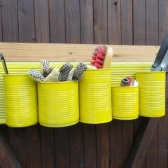 12 Mini-Regal gelb Garten Organizer Aufbewahrung Dekoration Holz Blechdose Konserve Upcycling gefertigt von Marion Heine Soulous Art