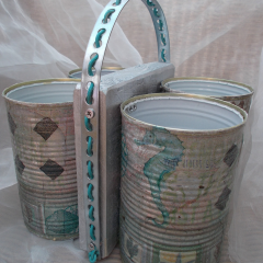 16 Maritim Servietten-Technik Besteck Ständer Organizer Aufbewahrung Dekoration Holz Blechdose Konserve Upcycling gefertigt von Marion Heine Soulous Art