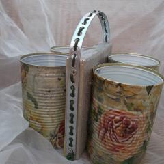 17 Rosengarten Servietten-Technik Besteck Ständer Organizer Aufbewahrung Dekoration Holz Blechdose Konserve Upcycling gefertigt von Marion Heine Soulous Art