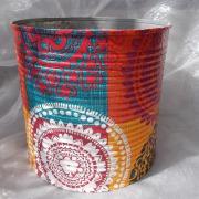 01 Blechdose Konservendose Blumentopf Übertopf Tischeimer bunt Serviettentechnik 70 -iger gefertigt von Marion Heine Soulous Art
