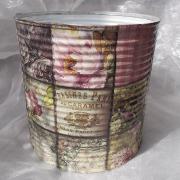 02 Blechdose Konservendose Blumentopf Übertopf Tischeimer bunt Serviettentechnik Garden gefertigt von Marion Heine Soulous Art