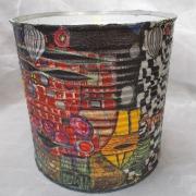 04 Blechdose Konservendose Blumentopf Übertopf Tischeimer bunt Serviettentechnik Hundertwasser gefertigt von Marion Heine Soulous Art
