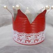06 Blechdose Konservendose Blumentopf Übertopf Kerzenständer Schale lackiert Krone rot Spitze gefertigt von Marion Heine Soulous Art