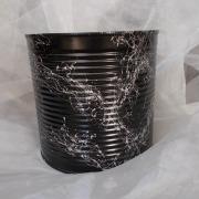 07 Blechdose Konservendose Blumentopf Übertopf Tischeimer lackiert schwarz silber gefertigt von Marion Heine Soulous Art