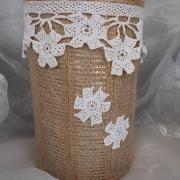 08 Blechdose Konservendose Blumentopf Übertopf Tischeimer beklebt Jute Häkelspitze gefertigt von Marion Heine Soulous Art