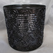 09 Blechdose Konservendose Blumentopf Übertopf Tischeimer lackiert schwarz metallic gefertigt von Marion Heine Soulous Art