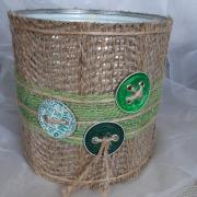 11 Blechdose Konservendose Blumentopf Übertopf Tischeimer beklebt Jute Nespresso Kapseln Knöpfe gefertigt von Marion Heine Soulous Art