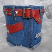 12 Blechdose Konservendose Blumentopf Übertopf Geldgeschenk - Tasche Tischeimer beklebt Jeans echt Leder gefertigt von Marion Heine Soulous Art
