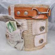 13 Blechdose Konservendose Blumentopf Übertopf Geldgeschenk - Tasche Tischeimer beklebt Jute Jeans echt Leder gefertigt von Marion Heine Soulous Art