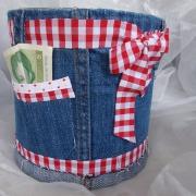 14 Blechdose Konservendose Blumentopf Übertopf Geldgeschenk - Tasche Tischeimer beklebt  Jeans Oktoberfest gefertigt von Marion Heine Soulous Art