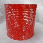 16 Blechdose Konservendose Blumentopf Übertopf Tischeimer lackiert rot silber gefertigt von Marion Heine Soulous Art