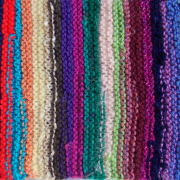 Schal *Kunterbunt* aus Wollresten 01-2 gestrickt Mohair Baumwolle Angora gemischte Wolle Acryl Polyacryl gefertigt von Marion Heine Soulous Art